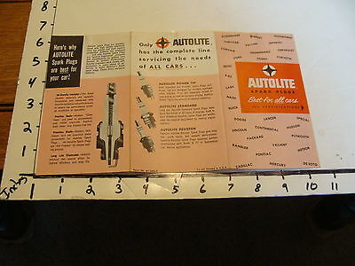 car paper-- AUTOLITE SPARK PLUGS BROCHURE 1960