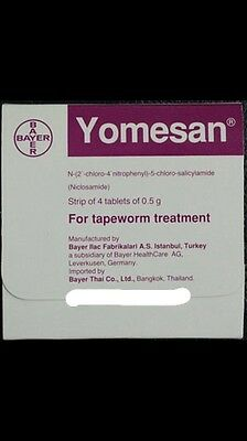 YOMESAN 4x Tablets TAPEWORM 1140720 human Ascaris parasite worm cleanse Cure