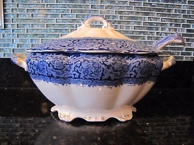 RAREJohn Maddock & Sons Royal Vitreous Soup Tureen---Rialto Pattern (Blue/White)