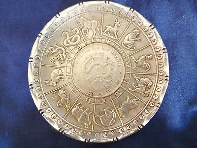 Chinese Wai Kee Silver Dish Zodiac Animals & Coin 102 grms