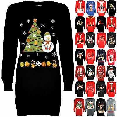 Womens Ladies Christmas Fleece Snowman Tree Long Tunic Sweatshirt Jumper Dress