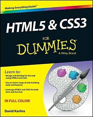 Html5 and Css3 for Dummies by David Karlins (Paperback, 2013)