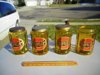 One Vintage Antique Amber Glass Traveler Cigar Tobacco Humidor Jar With Tin Lid