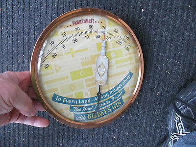 Vintage 1940's era Gilbey's Advertising Thermometer Alcohol Liquor Brewing
