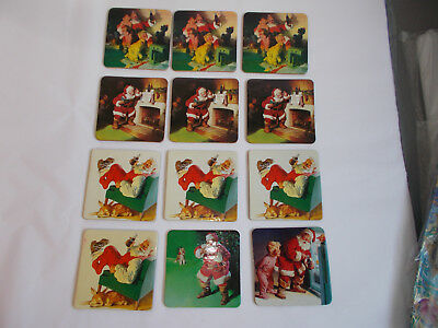 12 Vintage Coca Cola Christmas Santa Claus Kids Advertising Cork Drink Coasters