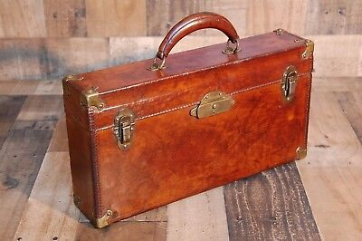 Vintage Leather Apothecary Box, leather travel box, medicine box, apothecary bot