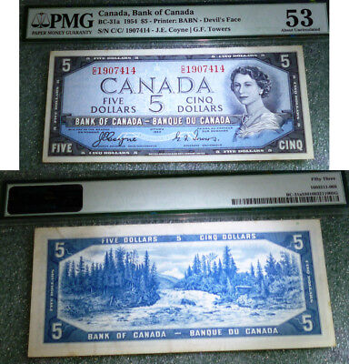 C/c Scarce Prefix  Bank  Of Canada  Pmg 53 Abt Uncirculated Devil Face Banknote