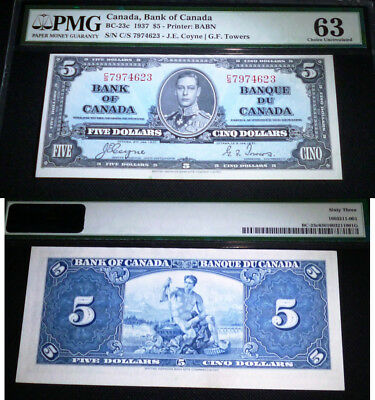 1937 $5 Bank Of Canada  Pmg 63