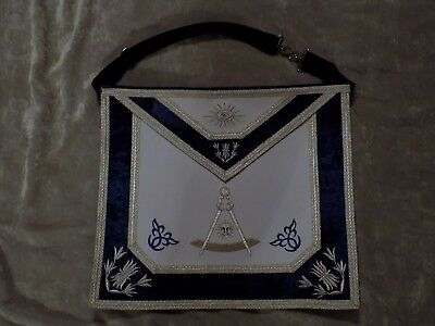 Past Master Mason Apron without Square Silver Bullion Blue Satin Pocket NEW!
