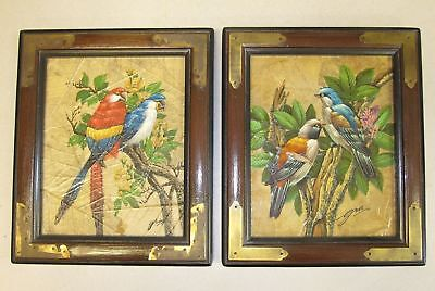 Pair of Vintage Original painting on leaves SIGNED GRIS Macaw parrots Birds