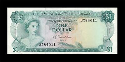 "1974 BRITISH COLONY BAHAMAS QEII $1 Series ""U"" (( aUNC ))"