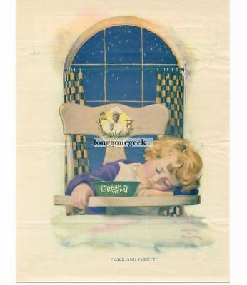 1923 CREAM OF WHEAT Cereal Little Girl Asleep In High Chair Edward Brewer Vtg Ad