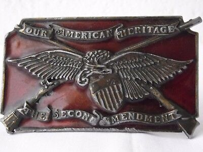 The second amendment COUNTRY WESTERN BUCKLE VINTAGE Made in USA Bergamont Brass