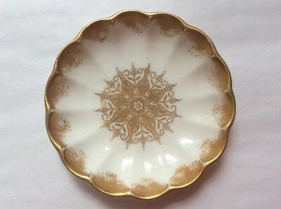 Gorgeous Antique Gold & White Spode Porcelain Butter Pat, p245  COOL GIFT IDEA!!