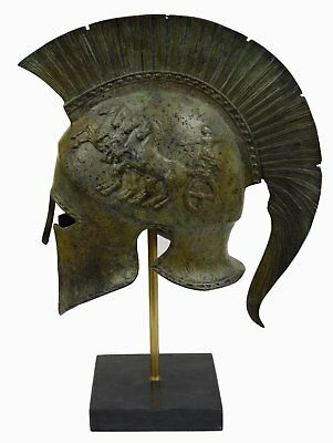 Corinthian Solid Bronze helmet with Chariot - Ancient Spartan Athenian armor