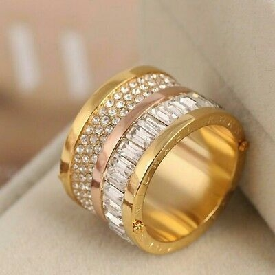 Michael Kors Rose Gold and Gold Tone Plated Crystal Barrel Ring Size US 7/UKO