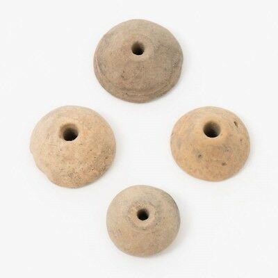 Lot of 4 Pre-Columbian Clay Spindle Whorls Totonac Vera Cruz Mexico 300BC-700AD