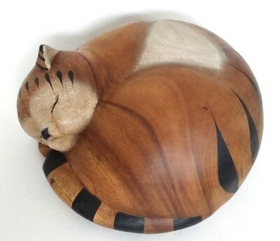 Vintage Handmade Carved Solid Wood Curled Up Sleeping Cat Kitty Figurine AWESOME