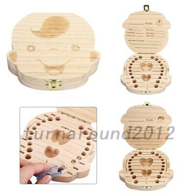 Kids Tooth Box Organizer Baby Save Milk Teeth Wood Storage Box For Boy&Girl SALE