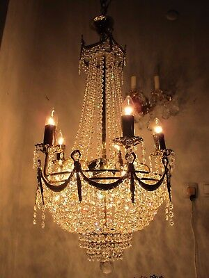 Antique Vnt French HUGE Basket Real Swarovski Crystal Chandelier 1940's 18in dmt