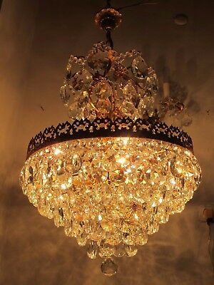 Antique Vnt French HUGE Basket Style Crystal Chandelier Lamp 1940's 18in Width *