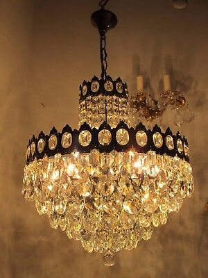 Antique Vnt French Big Basket Crystal Chandelier Lamp 1940's 16in Ø diamter...