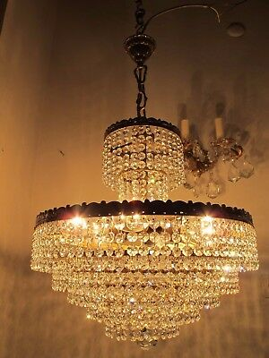 "Antique Vnt French HUGE Basket Real Swarovski Crystal Chandelier 1940's 18"" Ødmt"