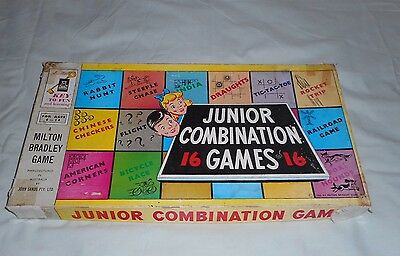 Vintage Milton Bradley Board Game 1955 JUNIOR COMBINATION 16 GAMES