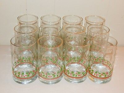 Twelve (12) Arby's 1986 Christmas  Holly Berry Glasses By Libbey, Dimple, 5 1/4""