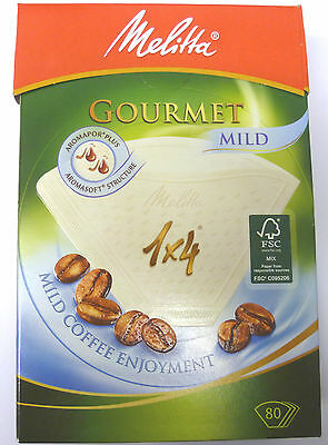 2 PACKS OF MELITTA 1 x 4 COFFEE FILTER PAPER x 80 GOURMET MILD     6687878X2