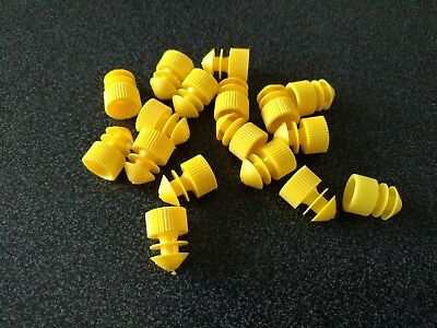 PACK OF 50  PLASTIC PUSH CAPS FOR TEST TUBES 13mm YELLOW test tube CAP