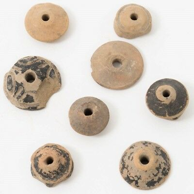 Lot of 7 Pre-Columbian Clay Spindle Whorls Totonac Vera Cruz Mexico 300BC-700AD