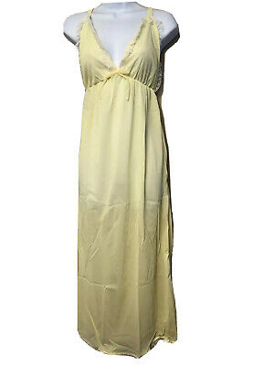 Nylon Nightgown Yellow Long Vintage 1970s NOS Lace Small Medium Sheer Gown