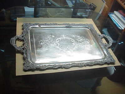 """#454 Antique Huge Webster & Sons 30"""" Serving Tray Mono M 1893 Christmas"""