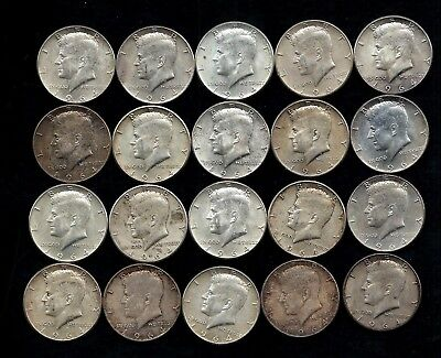 One Roll 1964 Kennedy Half Dollars 90% Silver (20 Coins)   Lot C60