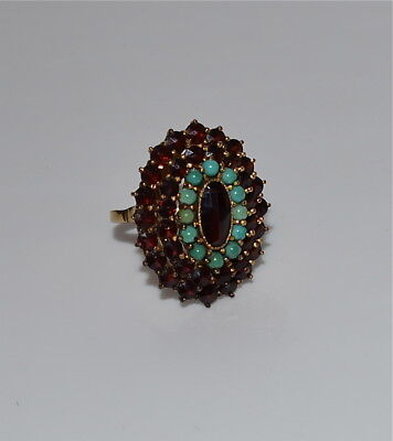 Old Bohemian Faceted Garnet and Turquoise Ring 10 Kt Gold Shank Size 7.5
