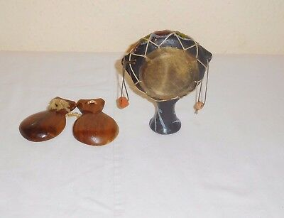 1 Ingle Wood Castanet & A Vintage Hand Held Shaking Drum