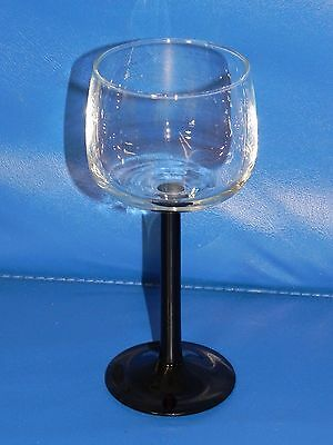 "Luminarc France WINE CHAMPAGNE CRYSTAL GLASS GOBLET BLACK STEM 7"" Arcoroc"