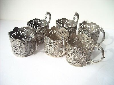 6 Dutch, RETICULATED SILVER 800,stamped Antiques  TEA CUPS HOLDERS,aprox 640g
