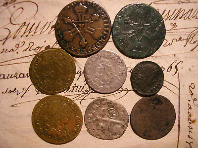 ++ French Colonies Lot 8 Old Coins 1600'-1700' Canada & Louisiana ~