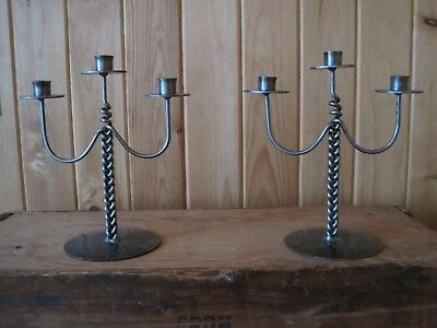 """Wrought Iron Heavy Metal Candle Holders Approx 11 1/2 """" Rustic Look /vintage"""