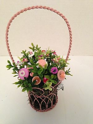 VTG Button Bouquet/Basket-Country Farmhouse Rustic HomeDecor Shabby Cottage Chic