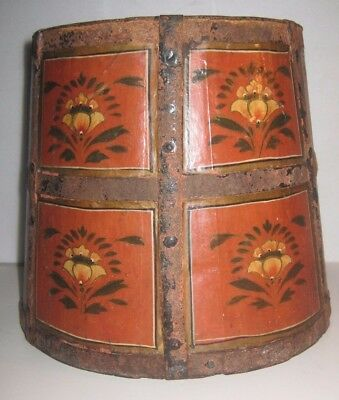 ANTIQUE 19th CENTURY FIRKIN WOODEN BUCKET PAIL_TOLE PAINTED LARGE IRON GORGEOUS