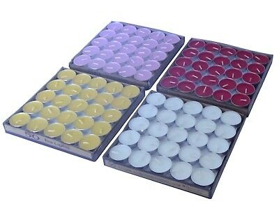 Tea Light Candles Box of 50 Red White Yellow Pink tealight wax Votive Unscented