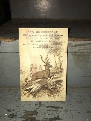 Vintage 1880 Blotter Trade Hunting Deer Geo Hildebrecht Boots Shoes Chicago
