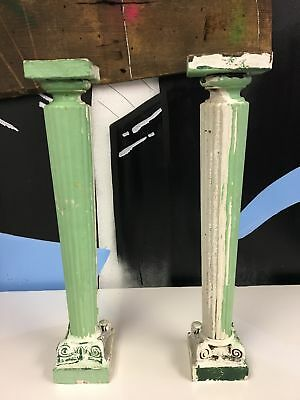 2 Reclaimed Wood Blusters Crackle Green Rustic Victorian Candle Stands 20""