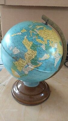 "RARE VINTAGE 1960's METAL REPLOGLE 8"" STANDARD WORLD GLOBE USA"