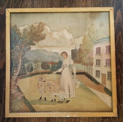 Antique* 18th/19th century framed needlepoint sampler* hand painted* 1800-1820*