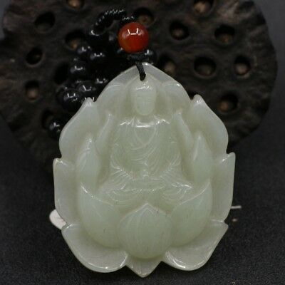 Chinese Exquisite Hand-Carved Lotus and Buddha carving Hetian jade Pendant