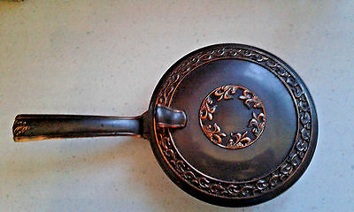 "Vtg L E Mason Copper Letter""R"" Monogram Bed Pan Warmer Silent Butler Hinged Lid"
